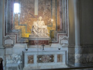 La Pieta statue by Michelangelo in St. Peter's basilica in Rome, travel guides for kids, www.theeducationaltourist.com