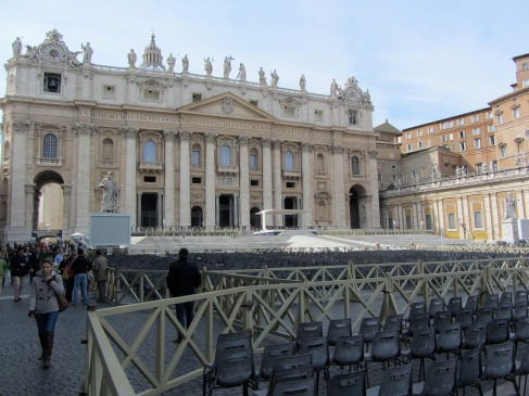 St. Peter's in Italy with chairs set up for pope's audience, travel guides for kids, www.theeducationaltourist.com