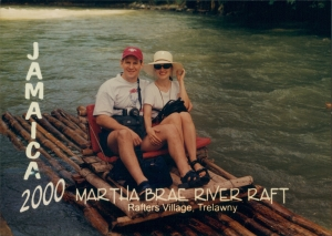 The Educational Tourist and husband on a raft in Jamaica, packing Light, www.theeducationaltourist.com